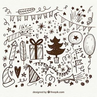 Элементы нового года doodle