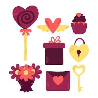 Doodle день святого валентина коллекция элементов