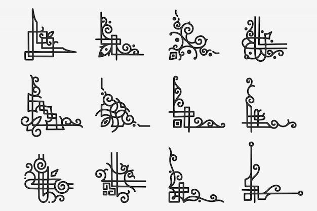 Ручной обращается doodle угловая граница
