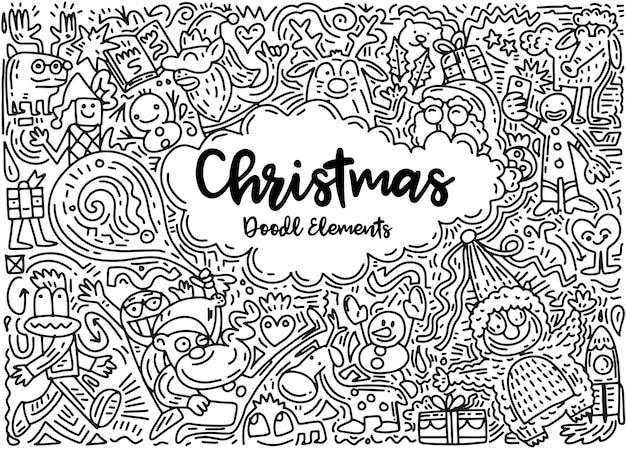 Doodleスタイルのクリスマスデザイン要素のセット