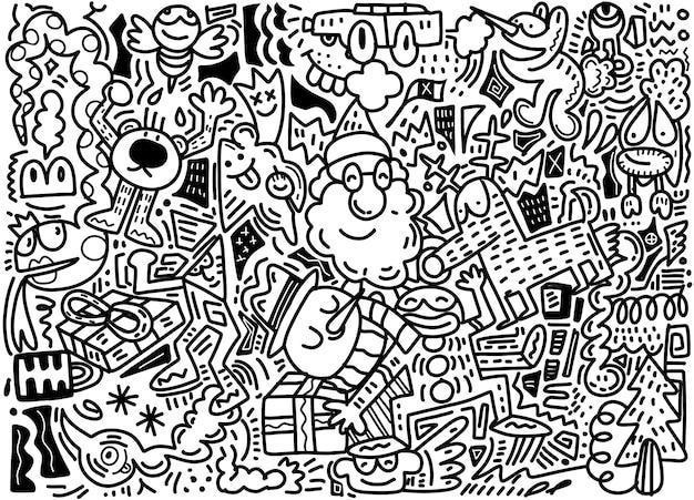 Векторная иллюстрация doodle рождественские фон
