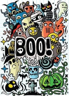 ハロウィンのテーマで描かれた手書きdoodle漫画のオブジェクトとシンボル