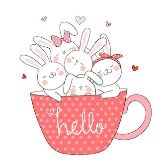 Нарисуйте кролика в чашке кофе в стиле doodle.
