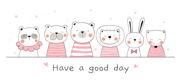 Нарисуйте баннер милый животных на белом doodle мультяшном стиле.