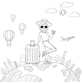 Doodle рука нарисовать женщину милый мультфильм путешественник с багажом