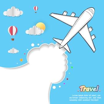 Doodle самолет вокруг концепции мира летом самолет антенна.