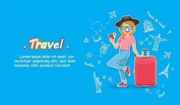 Doodle рука ничья топ всемирно известный ориентир. женщина милый мультфильм путешественник с багажом