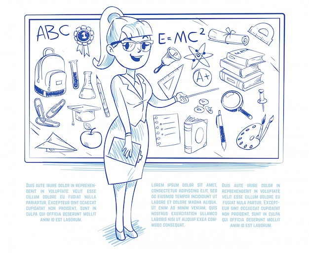 Doodle учитель учит студентов на уроке