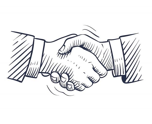 Эскиз рукопожатия. doodle рукопожатие с человеческими руками изолированы. профессиональная сделка, сотрудничество деловых людей