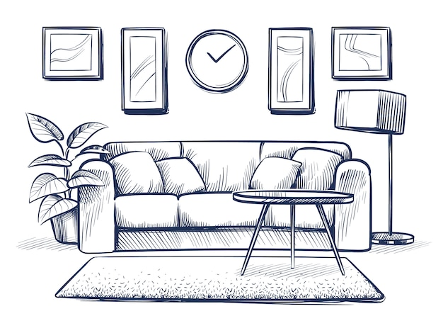 Эскиз интерьера. doodle гостиная с диваном, подушками и рамы на стене.