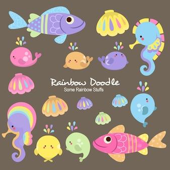 Линейные радужные предметы doodle