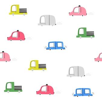 Детский вектор бесшовные модели с автомобилями. doodle стиль