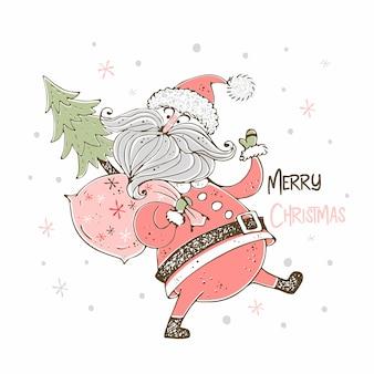 Рождественская открытка с веселым дедом морозом. doodle стиль