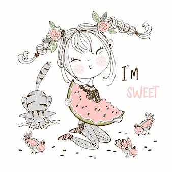 Милая девушка ест сочный арбуз, следующий кот и птиц. doodle стиль