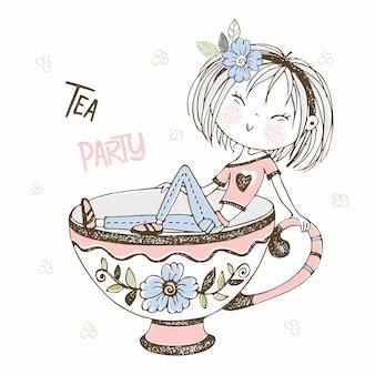 Милая девушка, пить чай. чайная вечеринка. doodle стиль