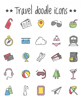 Doodleスタイルで設定された旅行アイコン