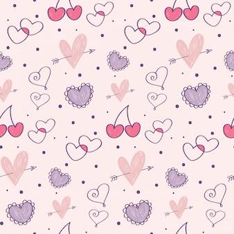 День святого валентина doodle бесшовные