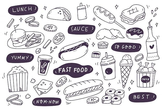 Набор рисованной нездоровой пищи doodle