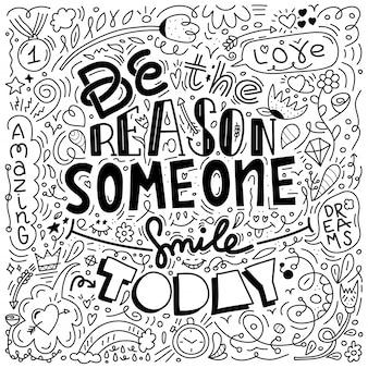 Черный цвет doodle дизайн векторное изображение с сообщением быть причиной, почему кто-то улыбается сегодня.