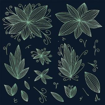 Doodle набор цветов иллюстрации в стиле линии