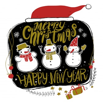 Doodleクリスマスシーズンアイコンとヴィンテージグラフィック要素。チョークボード効果。