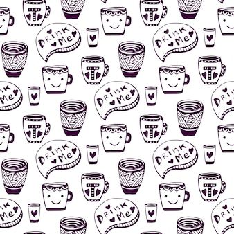 Чай и кофе. doodle чашки бесшовного фона. выпей меня. вектор