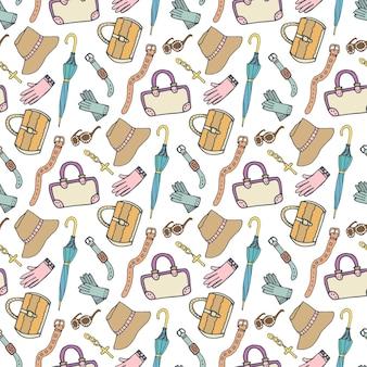Модный рисунок doodle с аксессуарами и сумочками. вектор рисованной бесшовные модели. женщина покупками фон