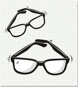 Doodleスタイルのサングラスのベクトル図