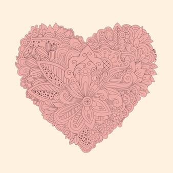 Doodle цветочные сердца. винтажное печатное сердце с линейными цветами