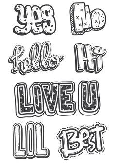 Doodleスタイルのテキストを含むかわいい音声の輪郭のセット