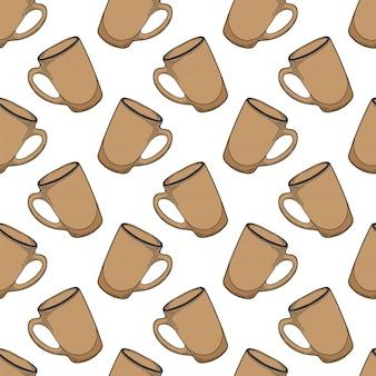 Картина кофейной чашки безшовная в стиле doodle и эскиза.