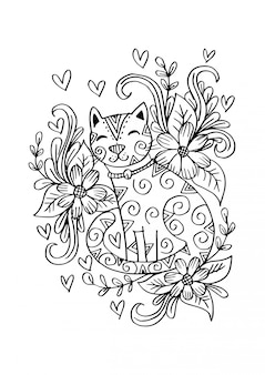 Doodle кота сидя в цветках.