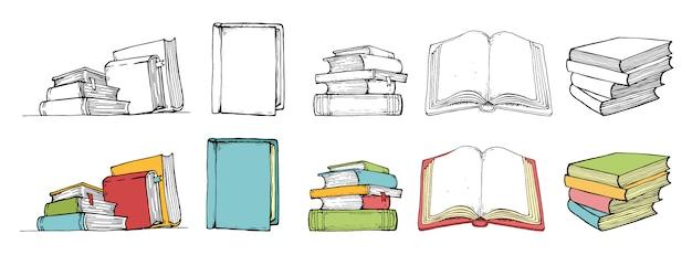 Doodle коллекция книг в цвете и черном стиле. нарисованный от руки.