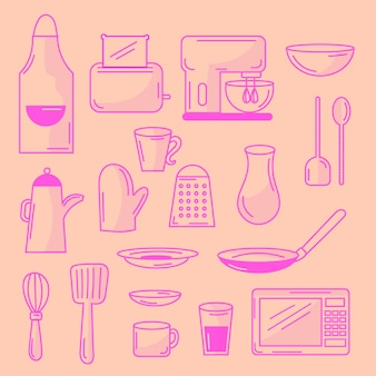 Doodled kitchen elements set