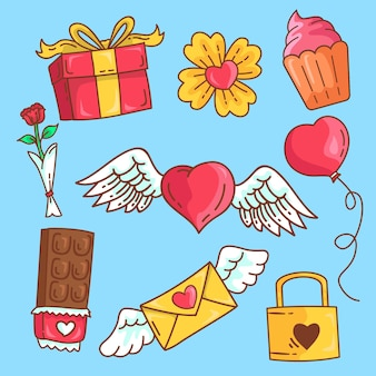 Doodled valentine's day elements