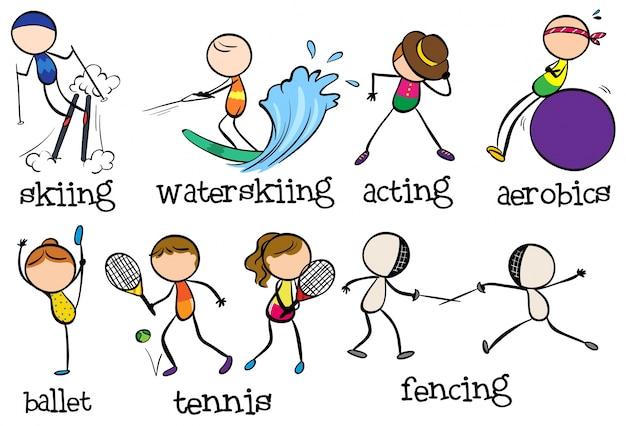 Doodles diversi tipi di sport
