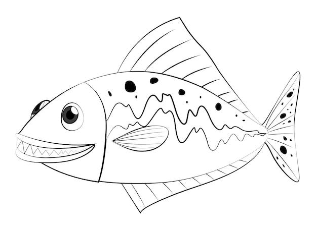 魚の水泳のための落書き製図動物