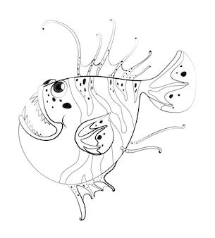 魚のための落書きドラフト動物