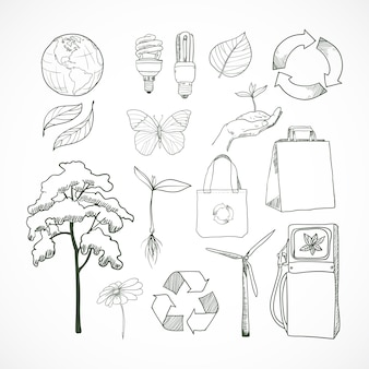 Doodles ecology and environment doodle elements set