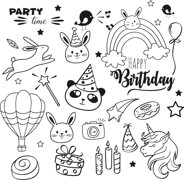 Doodles happy birthday элементы.