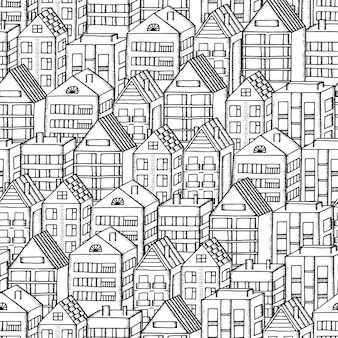 Doodles houses seamless pattern. black and white vector illustration.