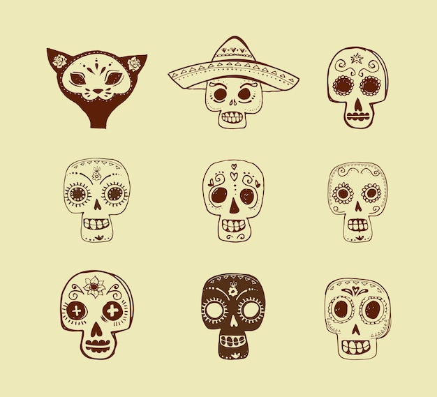 Doodles mexican skull set day of the dead Premium Vector