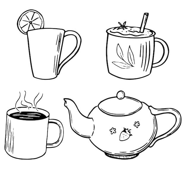 かわいいティーポット、マグカップ、カップの落書き。コーヒー、紅茶、ホットドリンク。手描きのベクターイラスト集。デザイン、装飾、プリント、ステッカー、カードの白で隔離の輪郭要素