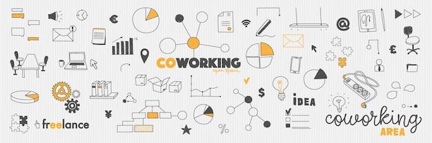 Doodles концепция офисного коворка коворкинг, совместное рабочее пространство и фриланс