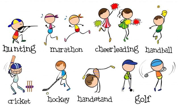 Doodles persone che svolgono diversi tipi di sport