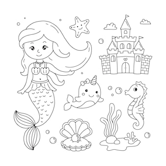 Doodles set of mermaid unicorn whale castle shell and sea plantsfor kids coloring book