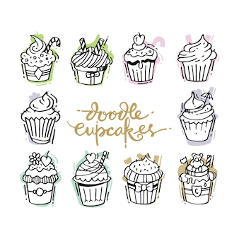 Doodles set with decorated sweet cupcakes