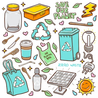 Doodles zero waste hand drawn coloring vector illustration