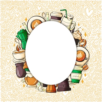 Нарисованная рука вектора шаржа красочная doodles фирменный стиль кофе.