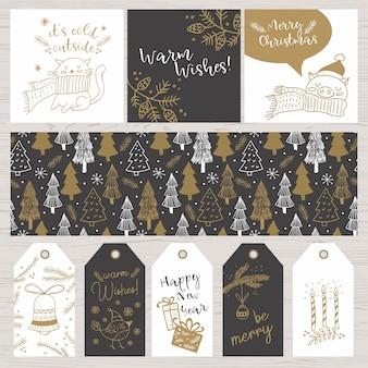 クリスマス手描きのdoodlesカード、タグ、パターン